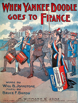 Music Royalty-Free and Rights-Managed Images - Vintage Sheet Music Cover Art - WW1 by Art Phaneuf