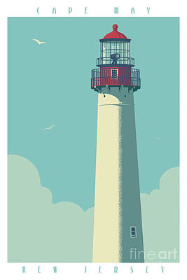 New Jersey Digital Art - Vintage Style Cape May Lighthouse Travel Poster by Jim Zahniser