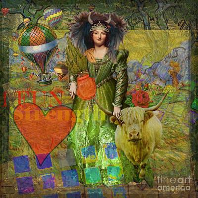 Zodiac Digital Art - Vintage Taurus Gothic Whimsical Collage Woman Fantasy by Mary Hubley