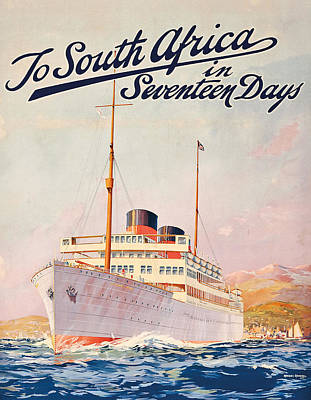 Liner Drawing - Vintage Travel Poster Advertising A Cruise To South Africa by Maurice Randall