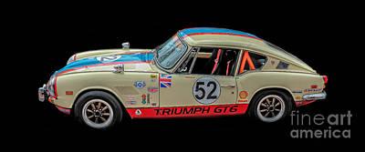 Photograph - Vintage Triumph Gt6 Plus Race Car by Edward Fielding