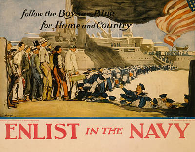 Painting - Vintage Us Navy by Vintage Pix