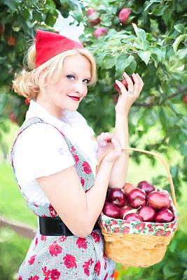 Digital Art - Vintage Val Apple Picking by Jill Wellington