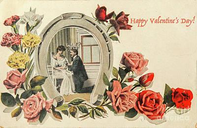 Photograph - Vintage Valentine Postcard by Patricia Hofmeester