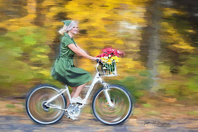 Digital Art - Vintage Val Bike Ride by Jill Wellington