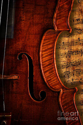 Photograph - Vintage Violin With Antique Overture Sheet Music by John Stephens