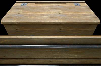 Vintage Wooden School Desk Closeup Art Print
