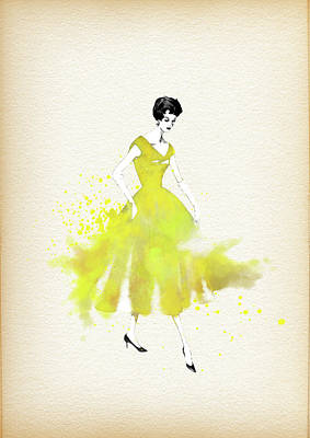 Fashion Painting - Vintage Yellow Dress - By Diana Van by Diana Van