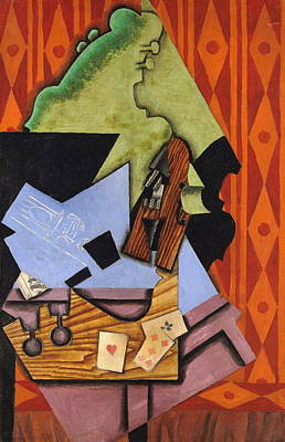 Violin And Playing Cards On A Table Art Print