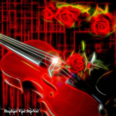 Digital Art - Violin And Roses by Riana Van Staden
