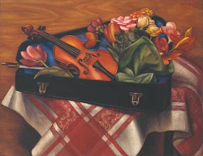Violin Case And Flowers Art Print by Mark Gertler