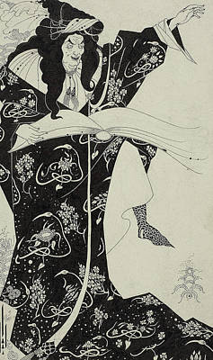 Casting Spells Drawing - Virgilius The Sorcerer by Aubrey Beardsley