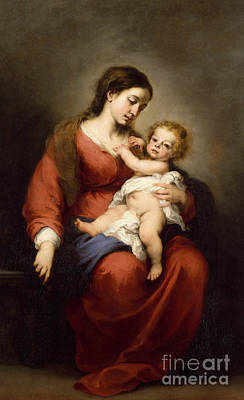 Red Robe Painting - Virgin And Child by Bartolome Esteban Murillo