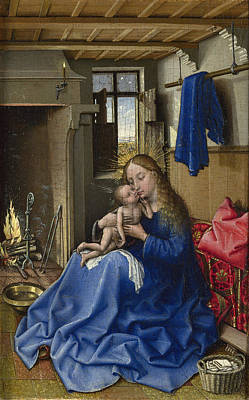 Child Jesus Painting - Virgin And Child In An Interior by Robert Campin
