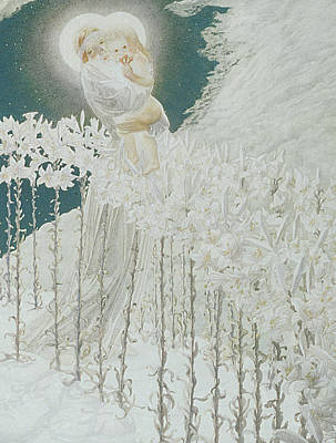 Child Jesus Painting - Virgin Of The Lilies by Carlos Schwabe