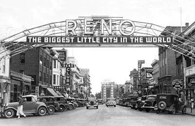 Photograph - Virginia Street In Reno by Underwood Archives
