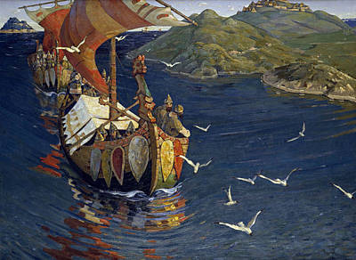 Seagull Painting - Visitors From Over The Sea by Nicholas Roerich