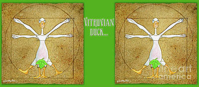 Painting - Vitruvian Duck... by Will Bullas