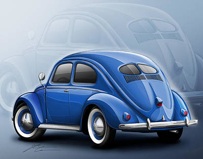 Beetle Digital Art - Volkswagen Beetle Vw 1948 Blue by Etienne Carignan