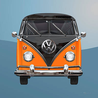 Volkswagen Type 2 - Black And Orange Volkswagen T 1 Samba Bus Over Blue Art Print