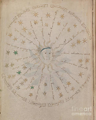 Drawing - Voynich Manuscript Astro Sun Central 4 by Rick Bures