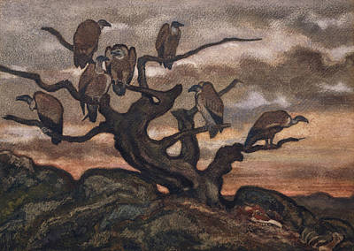 Drawing - Vultures On A Tree by Antoine-Louis Barye