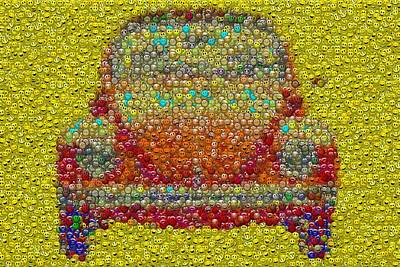 Vw Bug Smiley Face Mosaic Original by Paul Van Scott