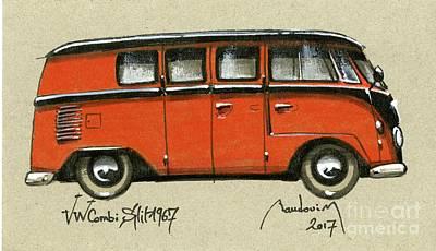 919 Painting - Vw Combi Split 1967 Orange by Alain Baudouin