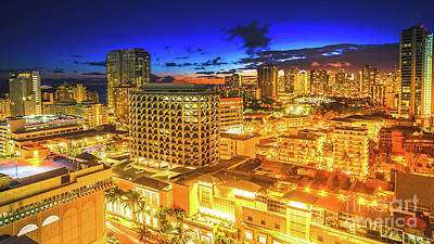 Photograph - Waikiki City Night by Benny Marty