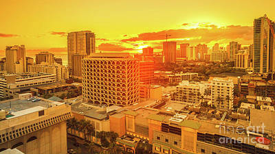 Photograph - Waikiki City Sunset by Benny Marty