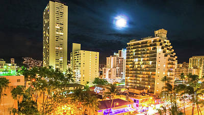 Photograph - Waikiki Moonlight Aerial View by Benny Marty
