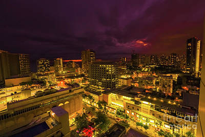 Photograph - Waikiki Night Aerial View by Benny Marty