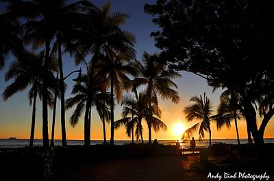 Photograph - Waikiki Sunset by Andrew Dinh