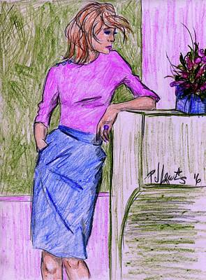 Art Print featuring the drawing Waiting by P J Lewis