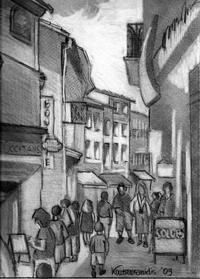 Cityscape.pencil Drawing - Walking And Shopping by Kostas Koutsoukanidis