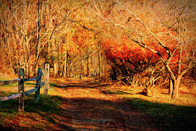 Photograph - Walking Down The Autumn Path by Jeff Folger