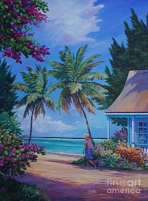 Caribbean Sea Painting - Walking Home by John Clark