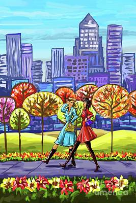 Painting - Walking In The Park by Tim Gilliland