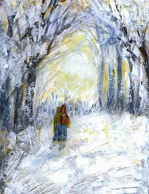 Snowscape Painting - Walking Together by Ingrid  Becker