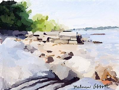 Wall And Beach At Ten Pound Island Art Print