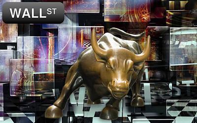 Mixed Media - Wall Street Bull Market by Marvin Blaine