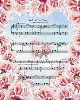 Waltz Of The Flowers Pink Roses Art Print