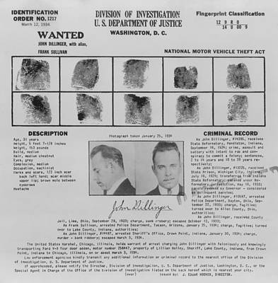 Bsloc Photograph - Wanted Poster For John Dillinger by Everett