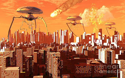 War Of The Worlds Art Print by Mark Stevenson