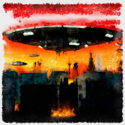 Strange Days Painting - War Of The Worlds by Esoterica Art Agency
