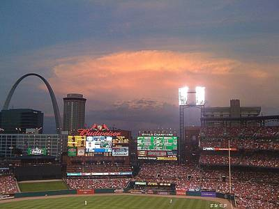 Photograph - Warm Glow Over St. Louis Arch And Stadium by Barbara Plattenburg