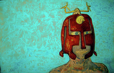Painting - Warrior Mask by Raul Morales