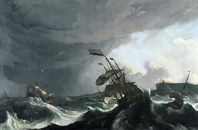 Painting - Warships In A Heavy Storm by Ludolf Bakhuysen