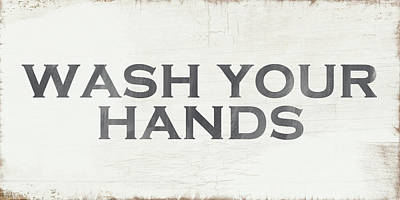 Living Room Art Painting - Wash Your Hands Modern Farm Sign- Art By Linda Woods by Linda Woods