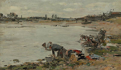 The Edge Painting - Washers At The Edge Of The Touques by Eugene Boudin